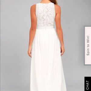 Small Lulus White Lace Nude Maxi Dress